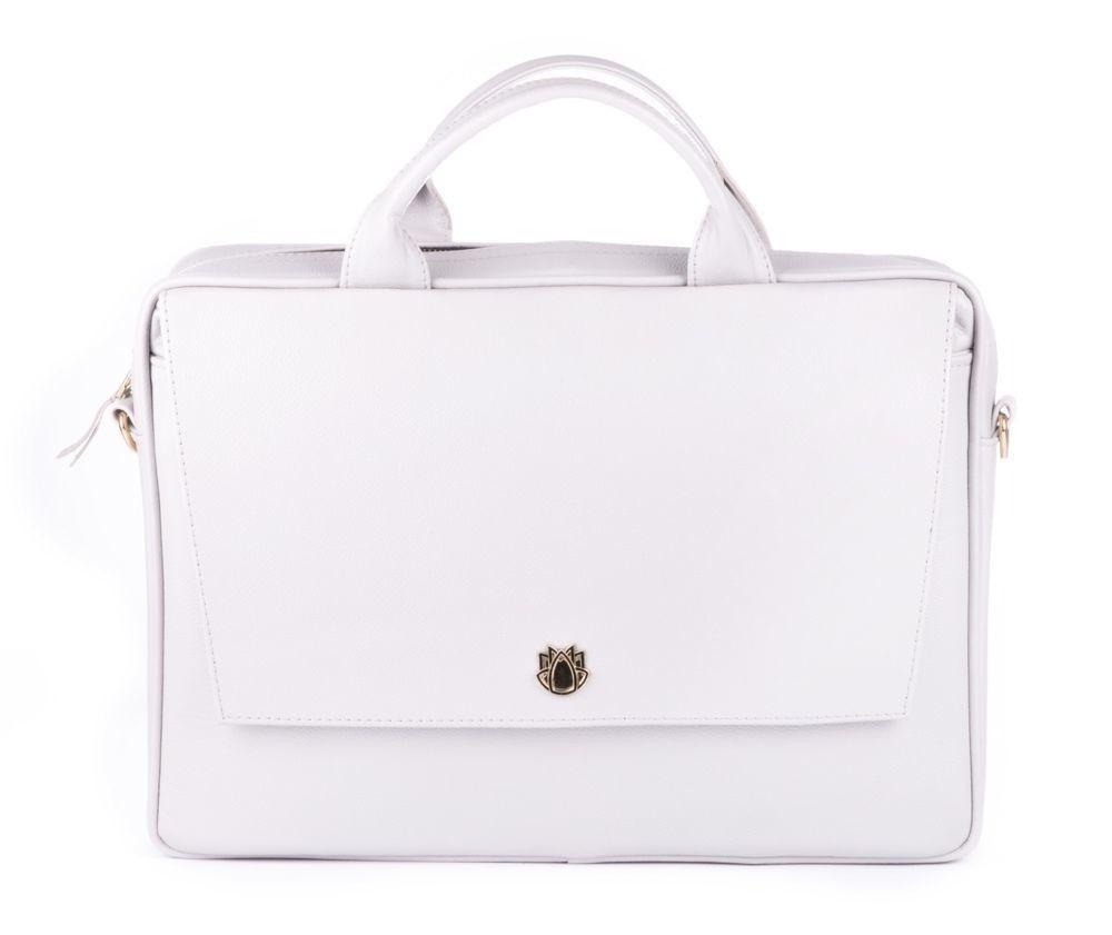 e3f60a091 Dámská kožená taška na notebook FL14 Rimini světle šedá