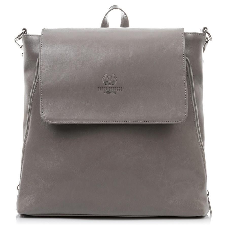 d6efa82889 Dámský kožený batoh Paolo Peruzzi Vintage 2v1 šedý